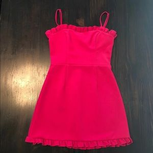 red ruffle french connection dress